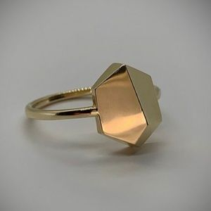 New 14k Gold Asymmetric Faceted Ring Size 7